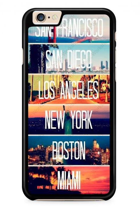San Francisco, New York, Boston, San Diego, Los Angeles, Miami Case for iPhone 4 4s 5 5s 5c 6 6 Plus 6s 6s Plus, Samsung Galaxy S3 S4 S5 S6 S6 Edge S7 S7 Edge LG G3, LG G4, HTC One M8, HTC One M9, Sony Xperia Z3